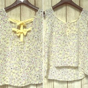 Tops - Yellow Flower Blouse With Bow Tie Back